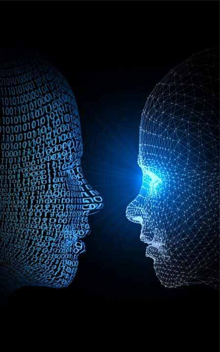 two AI faces looking at each other