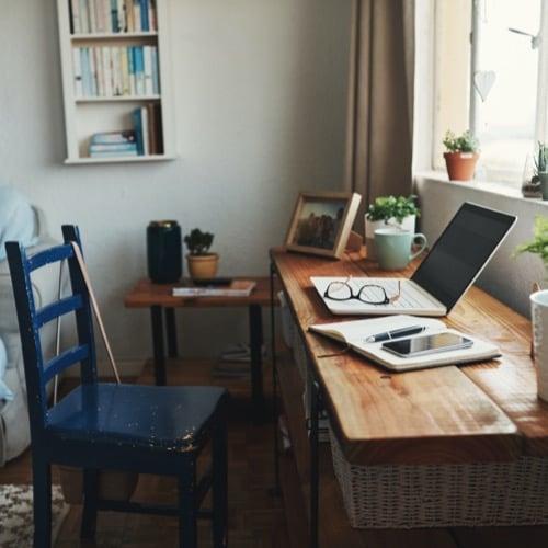 Remote worker's desk