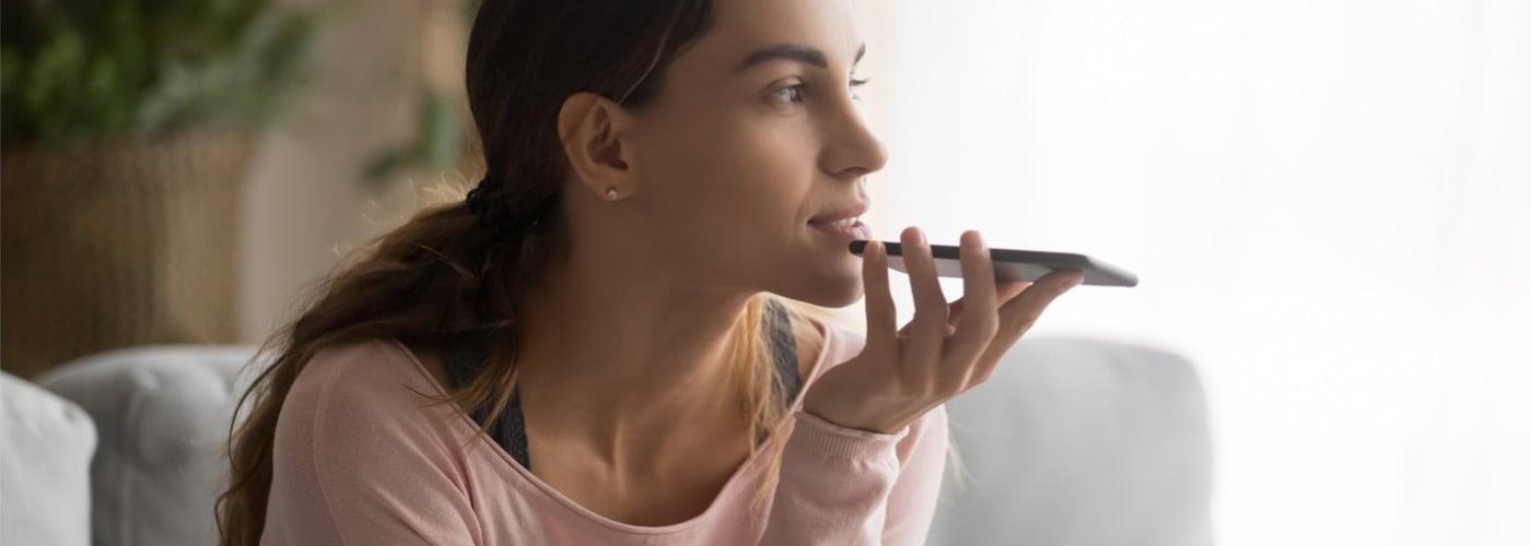 woman using speech to text
